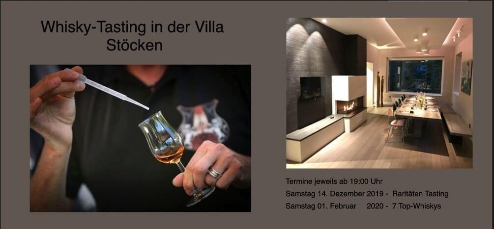 Whisky-Tasting in der Villa Stöcken am 14. Dezember 2019 und 01. Februar 2020